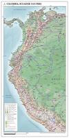 kaart Colombia, Ecuador en Peru