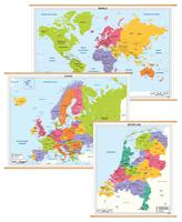 3 Schoolkaarten Nederland/Europa/Wereld 1297