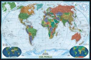 Groen/bruin getinte wereldkaart. National Geographic