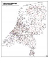 Digitale 2 cijferige Postcodekaart Nederland