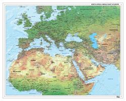 Europa Afrika Midden-Oosten Natuurkundige kaart