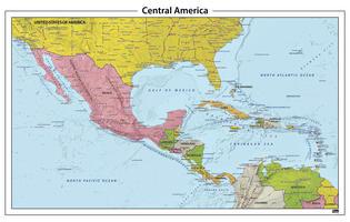 Centraal Amerika reliëf kaart