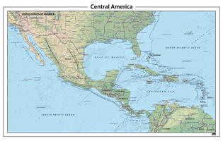 Centraal Amerika natuurkundige kaart
