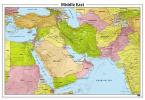 Midden Oosten reliëf kaart