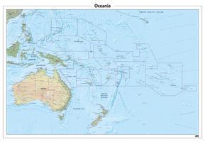 Oceanië natuurkundige kaart