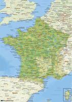 Natuurkundige landkaart Frankrijk