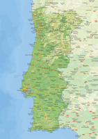 Natuurkundige landkaart Portugal