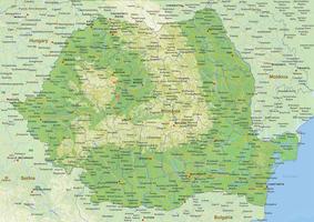 Natuurkundige landkaart Roemenië