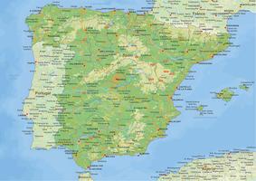 Natuurkundige landkaart Spanje