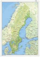 Natuurkundige landkaart Zweden