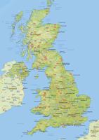 Natuurkundige landkaart United Kingdom