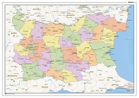 Staatkundige landkaart Bulgarije