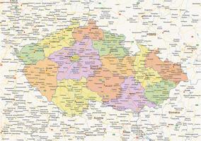 Staatkundige landkaart Tsjechië