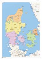 Staatkundige landkaart Denemarken