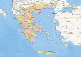Staatkundige landkaart Griekenland