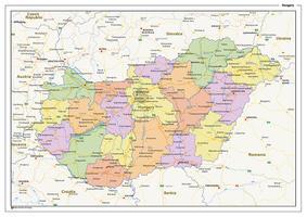 Staatkundige landkaart Hongarije