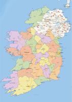 Staatkundige landkaart Ierland
