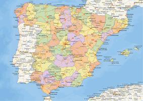 Staatkundige landkaart Spanje