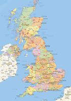 Staatkundige landkaart United Kingdom