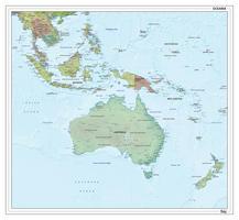 Oceanië staatkundig met reliëf 1296
