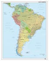 Digitale Zuid-Amerika staatkundig met reliëf 1292