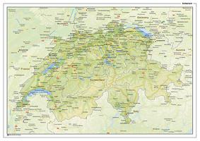 Natuurkundige landkaart Zwitserland