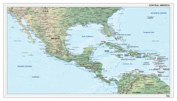 Digitale kaart Midden-Amerika natuurkundig 1308