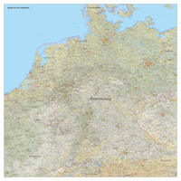 Digitale Kaart Benelux + Duitsland met natuurkundige ondergrond