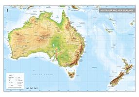 Australië en Nieuw-Zeeland kaart Natuurkundig