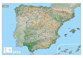 Spanje Kaart Natuurkundig
