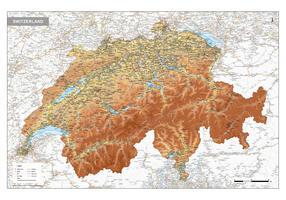 Zwitserland Natuurkundige kaart