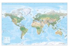 Wereldkaart Natuurkundig met reliëf