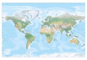 Wereldkaart XXL Natuurkundig met reliëf