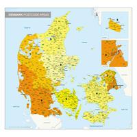 1-, 2- en 4-cijferige Postcodekaart Denemarken