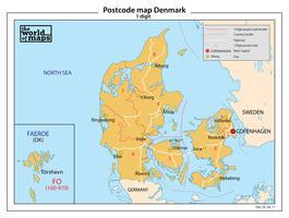 Denemarken 1-cijferige postcodekaart 77