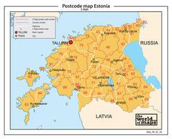 Estland 2-cijferige postcodekaart 78
