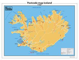 Digitale postcodekaart IJsland 3-cijferig