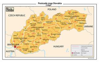Slowakije 2-cijferige postcodekaart 206