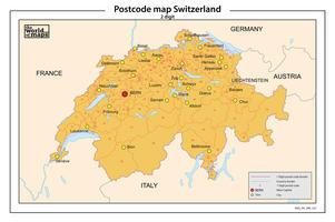 Zwitserland 2-cijferige postcodekaart 527