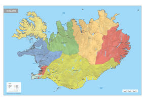 IJsland Kaart Staatkundig
