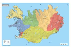 Digitale IJsland Kaart Staatkundig