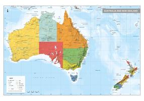 Digitale Australië en Nieuw-Zeeland kaart Staatkundig