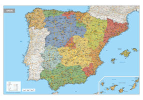 Spanje Kaart Staatkundig