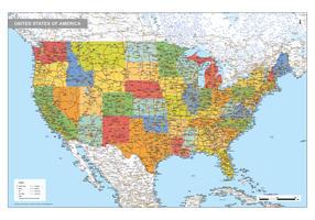 Staatkundige kaart Verenigde Staten 1733