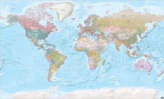 Digitale Wereldkaart XXL staatkundig met reliëf 1271