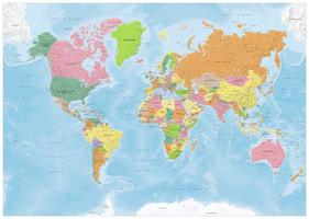 digitale Staatkundige wereldkaart met veel details