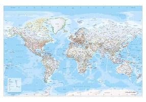 Wereldkaart small en medium staatkundig gekleurde grenzen