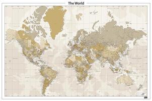 Wereldkaart in nostalgische kleuren afgebeeld, veel detail