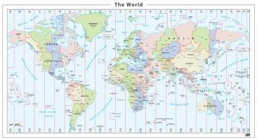 Digitale wereldkaart tijdzones