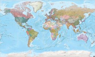 Grote Wereldkaart XXL staatkundig met reliëf